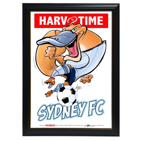 Sydney FC, A-League Mascot Harv Time Print Framed - 4189