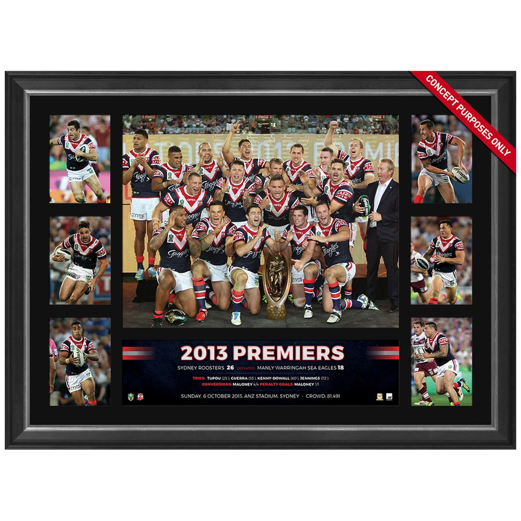 Sydney Roosters 2013 Nrl Premiers Official Tribute Frame Anthony Minichiello - 3074