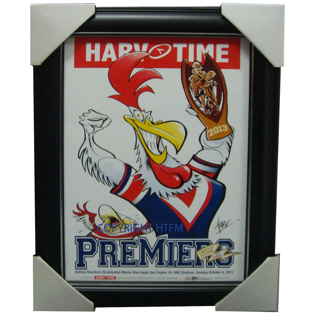 Sydney Roosters 2013 Premiers Harv Time Limited Edition Print Framed Minichiello - 1555