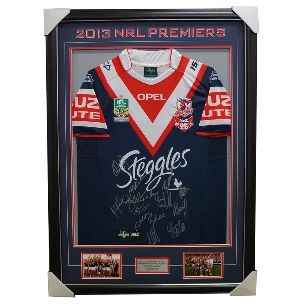 Sydney Roosters 2013 Premiers Nrl Limited Edition Jersey Signed Minichiello Framed - 1797