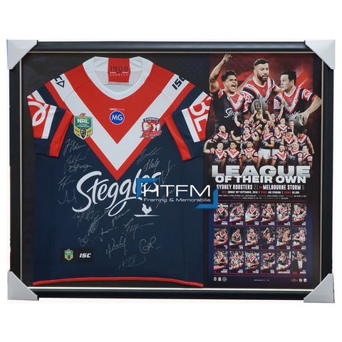Sydney Roosters 2018 NRL Premiers Signed Official Team Guernsey Framed League of Their Own + GIFT - 3508 IN STOCK NOW