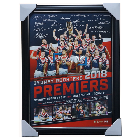 Sydney Roosters 2018 Premiers NRL Team Signed Official Print Framed Cronk Keary - 3591