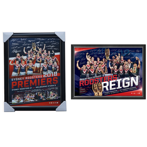 Sydney Roosters 2018 & 2019 Premiers Nrl Team Signed Official Print Frame Package - 3948