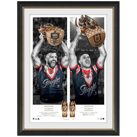 Sydney Roosters 2019 NRL Premiers Dual Signed Official Icon Series Frame Tedesco Mitchell - 3837