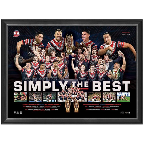 "Sydney Roosters 2019 NRL Premiers Official Framed Sportsprint ""Simply the Best"" - 3838"