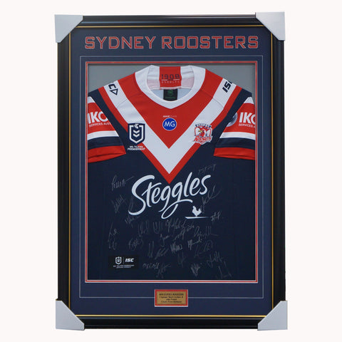 Sydney Roosters 2020 Signed Official NRL Team Jersey Framed Tedesco Keary - 4539
