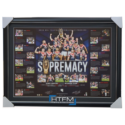Sydney Roosters Dual Signed 2018 Premiers Official NRL Supremacy Lithograph Framed + COA - 3509