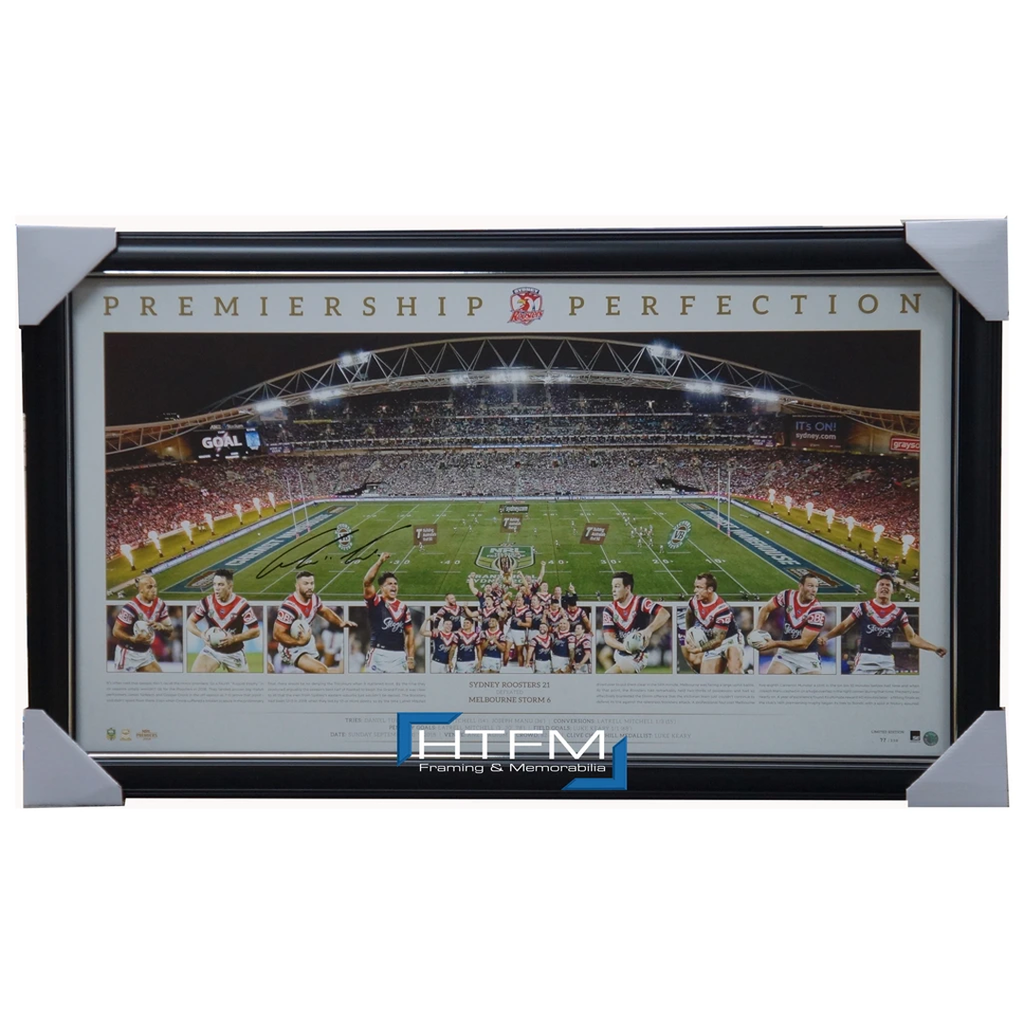 Sydney Roosters Signed 2018 Premiers Official Nrl Panoramic Print Framed - 3510