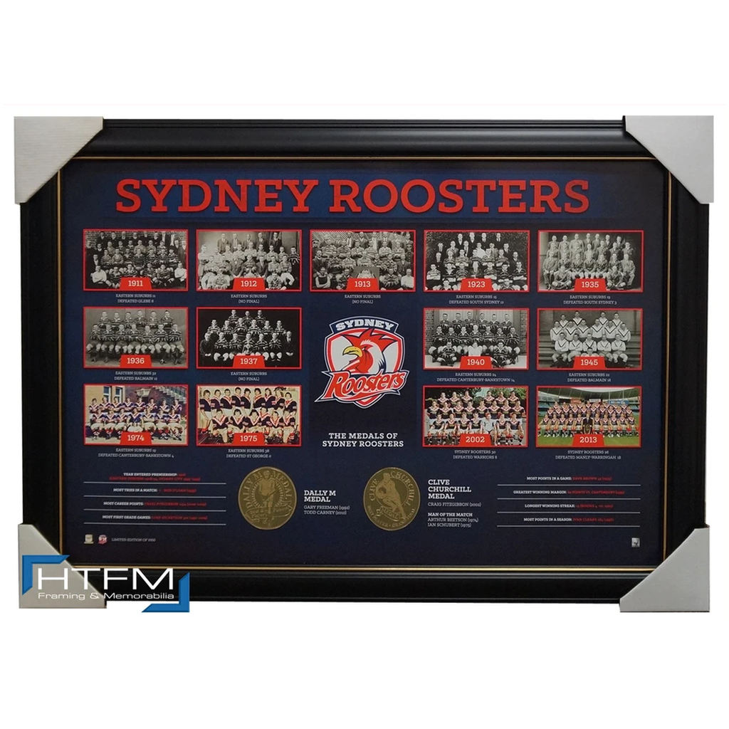 Sydney Roosters the Historical Series Montage Print Framed Official Nrl - 1838