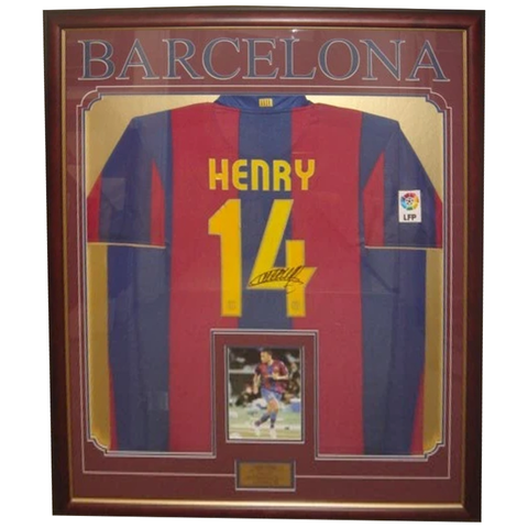 Thierry Henry Barcelona Signed Jersey Framed - 2837