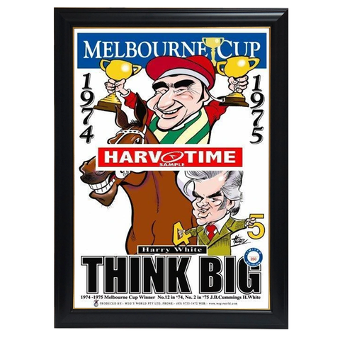 Think Big, Melbourne Cup, Harv Time Print Framed - 4124