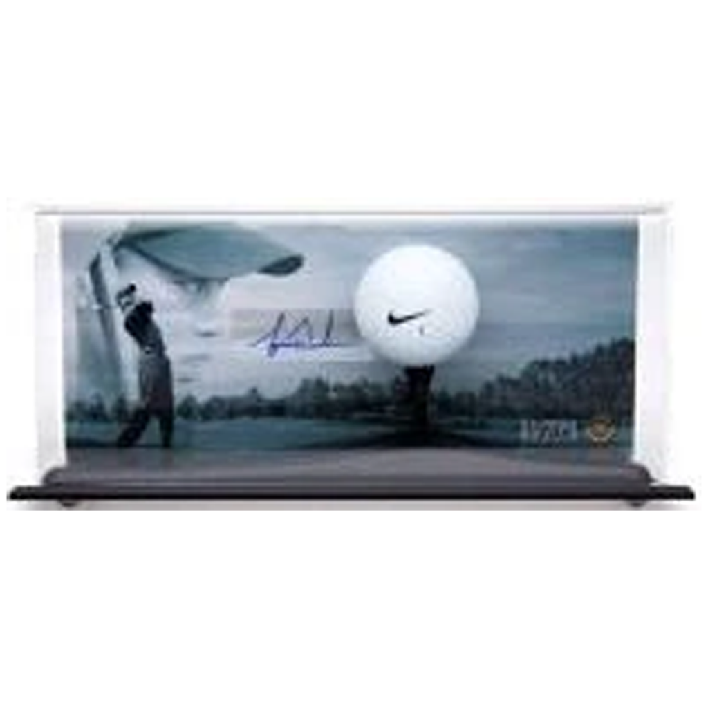 Tiger Woods Signed Range Used Golf Ball Display Uda Le