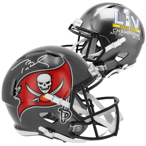 Tom Brady Tampa Bay Buccaneers Autographed Super Bowl LV Champions Riddell Super Bowl LV Champions Speed Authentic Helmet Official Fanatics - 4622