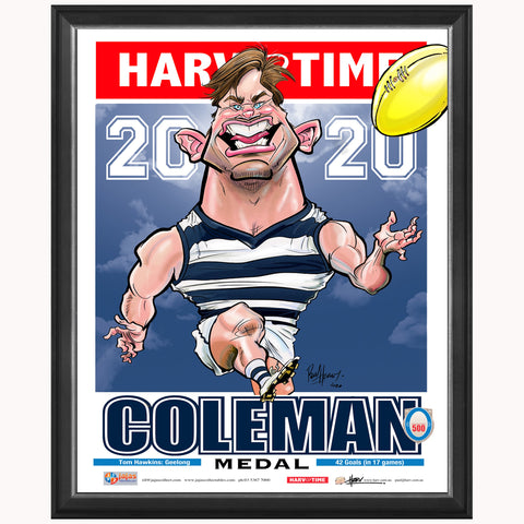 Tom Hawkins 2020 AFL Coleman Medal Geelong Harv Time L/E Print Framed - 4526