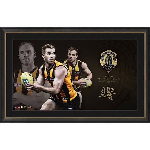 Tom Mitchell 2019 Brownlow Medel Display Hawthorn F.C. Print Framed - 4322
