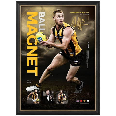 Tom Mitchell Signed 2018 Brownlow Medallist Official Afl Print Framed + Afl Coa - 3485