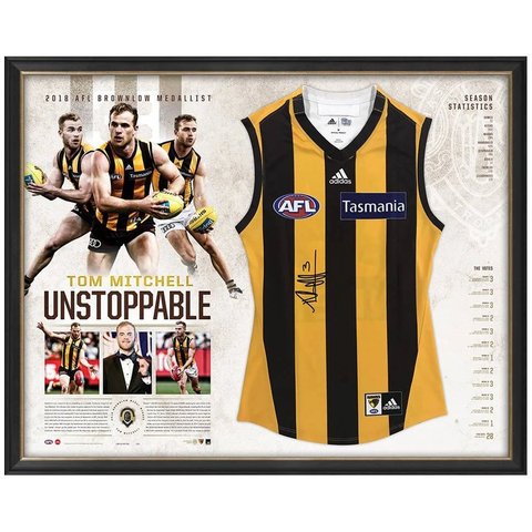 Tom Mitchell Signed Hawthorn 2018 Brownlow Medallist Official Afl Jumper Framed + Gift - 3483