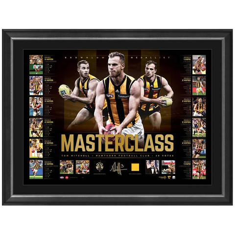 Tom Mitchell Signed Hawthorn Masterclass 2018 Brownlow Medallist Official AFL Litho Framed - 3484