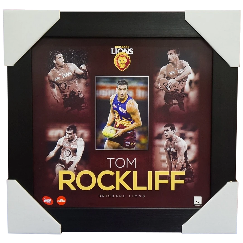 Tom Rockliff Unsigned Brisbane Lions AFL Official Montage 2015 Print Framed - 1093