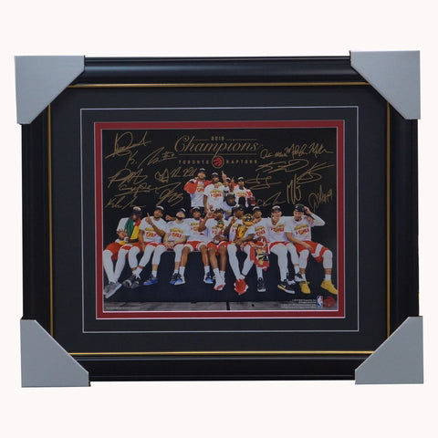 Toronto Raptors Team Celebration Photograph Facsimile Signatures Official NBA Print Framed - 4345