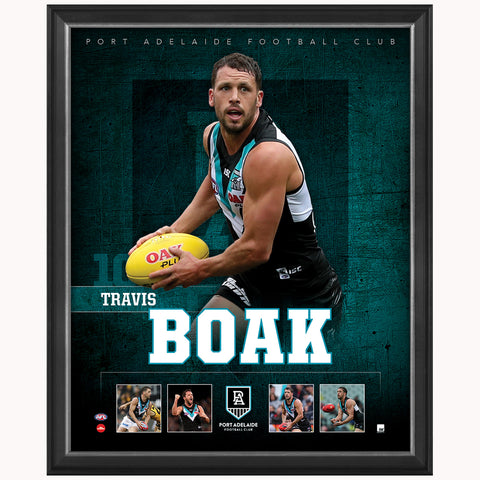 Travis Boak Port Adelaide Official Afl Player Print Framed New - 4385