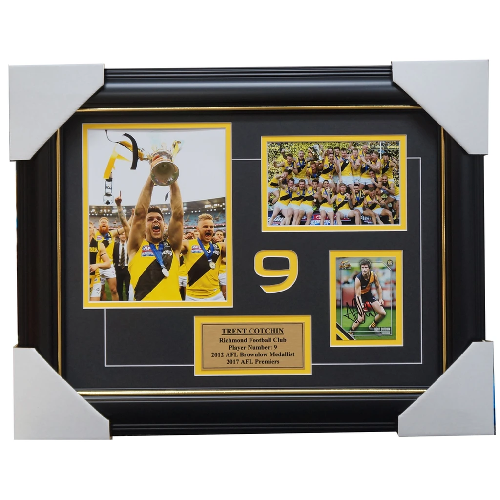 Trent Cotchin Richmond Signed 2017 Premiers Card Collage Framed - 4039