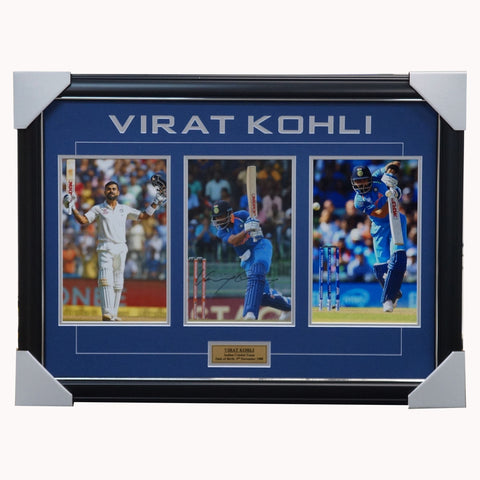 Virat Kohli Signed India Cricket Photo Collage Framed - 3986