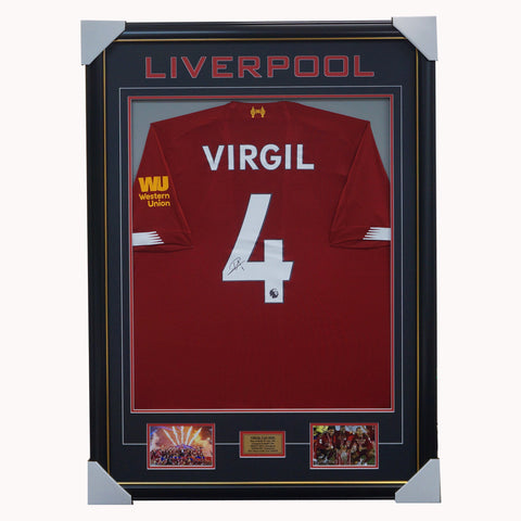 Virgil Van Dijk SIGNED Liverpool 2020 EPL Champions #4 Jersey Framed Private Signing - 4466