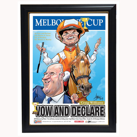 Vow & Declare 2019 Melbourne Cup Champion Harv Time Limited Edition Print Framed Craig Williams - 3904