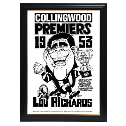 Weg Lou Richards 1953 Premiers Print Framed - 4257