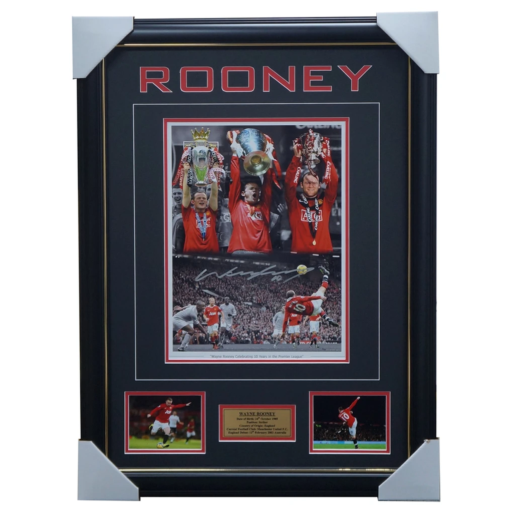 Wayne Rooney Signed Manchester United 10 Year Montage Photo Framed - 2853