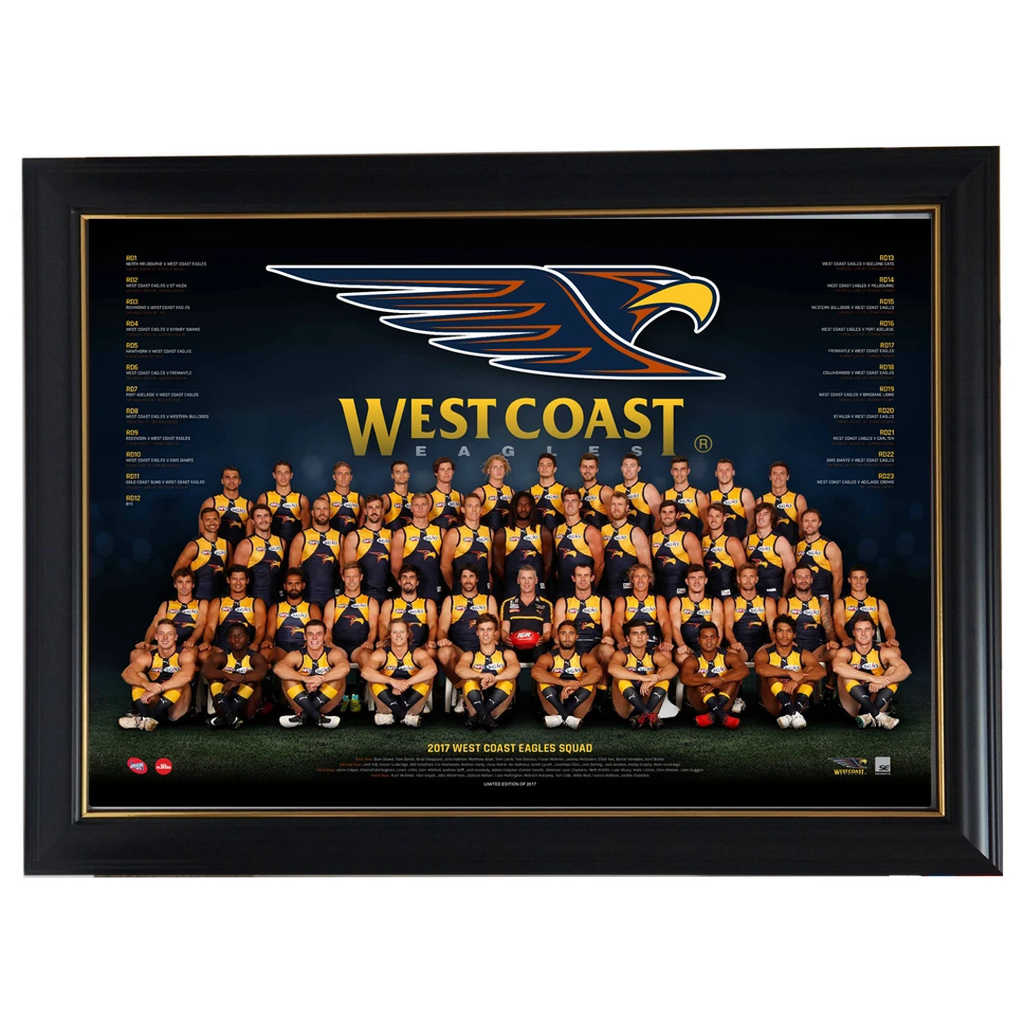 West Coast Eagles 2017 AFL OFFICIAL Team Print Framed Kennedy Naitanui Mitchell - 3039