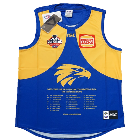 West Coast Eagles 2018 Premiers AFL ISC Official Jumper Size Extra-Large XL In Stock - 3521