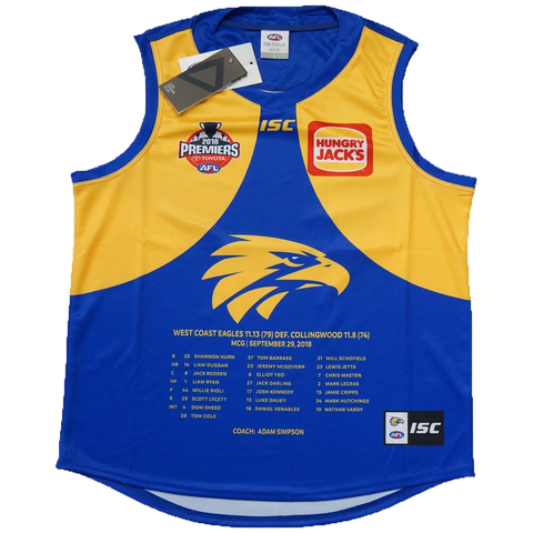 West Coast Eagles 2018 Premiers AFL ISC Official Jumper Size Large In Stock - 3520