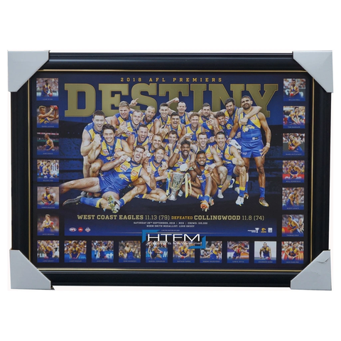 West Coast Eagles 2018 Premiers Deluxe DESTINY Official AFL Print Frame Hurn - 3497