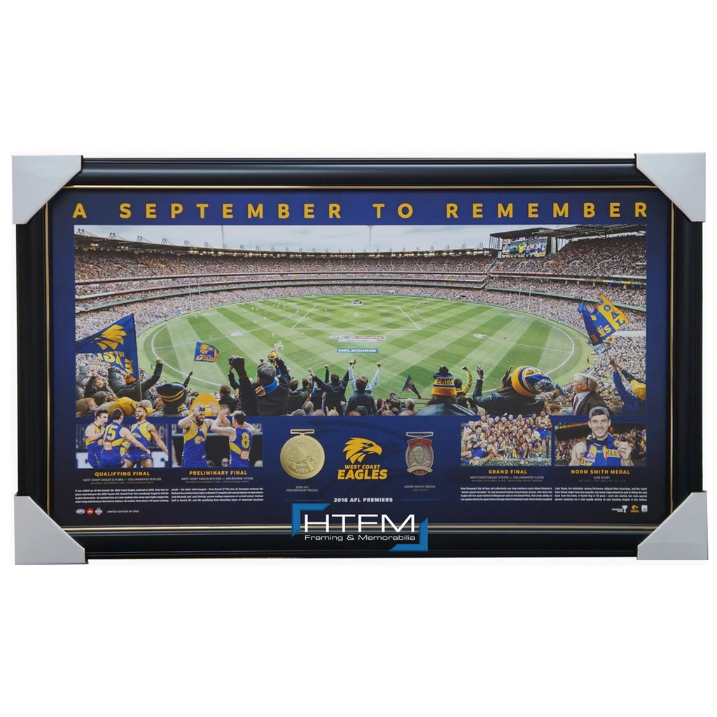 West Coast Eagles 2018 Premiers MCG Panoramic September to Remember Official AFL Print Framed - 3504