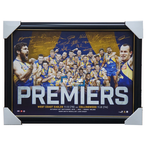 West Coast Eagles 2018 Premiers Signed Official AFL Print Frame Hurn Shuey Yeo - 3500