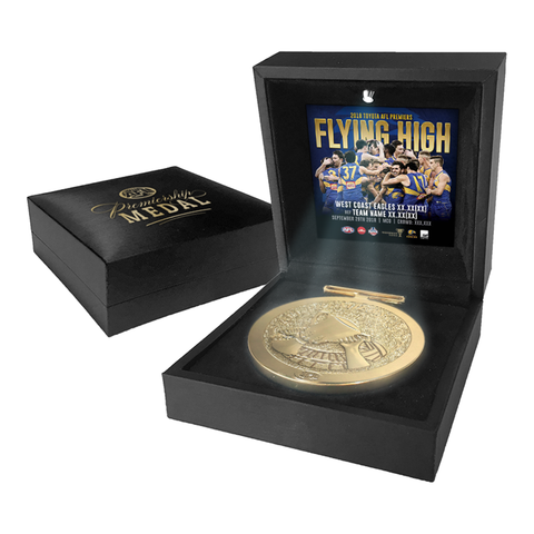 West Coast Eagles 2018 Premiership Official AFL Medallion in Black LED Box - 3498