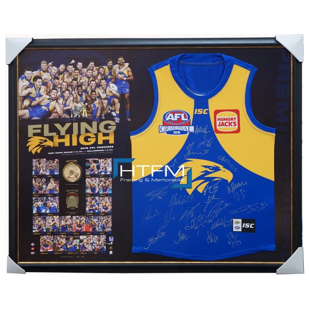 West Coast Eagles 2018 Premiership Signed Official Afl Jumper Framed in Stock + Gift 3493