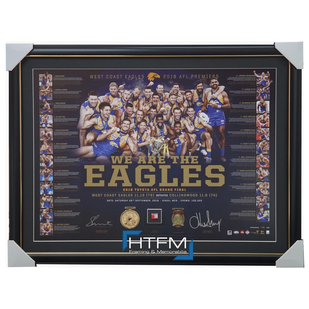 West Coast Eagles 2018 Premiership Signed Official Afl Lithograph Framed Hurn Shuey - 3494 in Stock