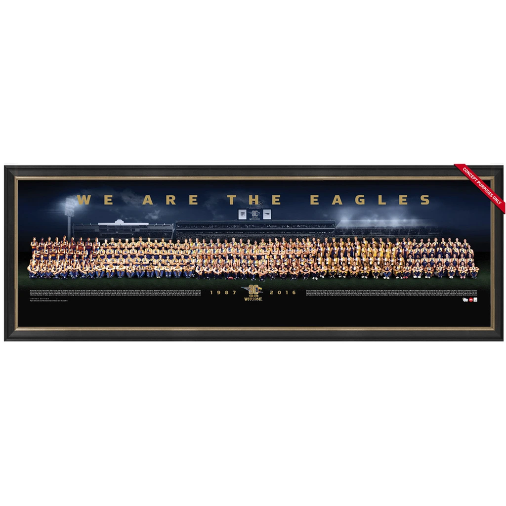 West Coast Eagles 30 Year Anniversary Limited Edition Team Print Framed Worsfold Judd Cousins - 2914