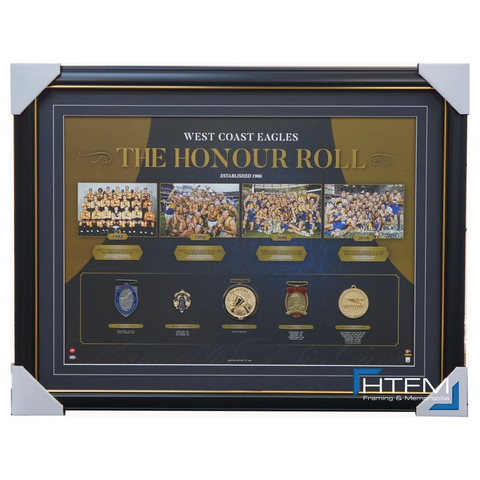 West Coast Eagles Afl 2018 Premiers Honour Roll With Medallions Print Framed Official - 3006 Brand New