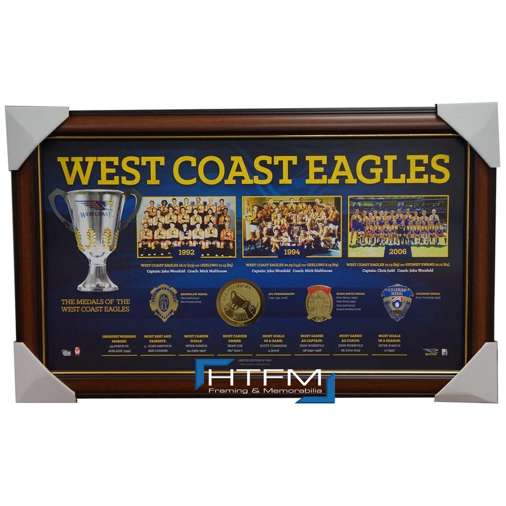 West Coast Eagles Historical Series Premiership AFL Licensed Print Framed - 1891