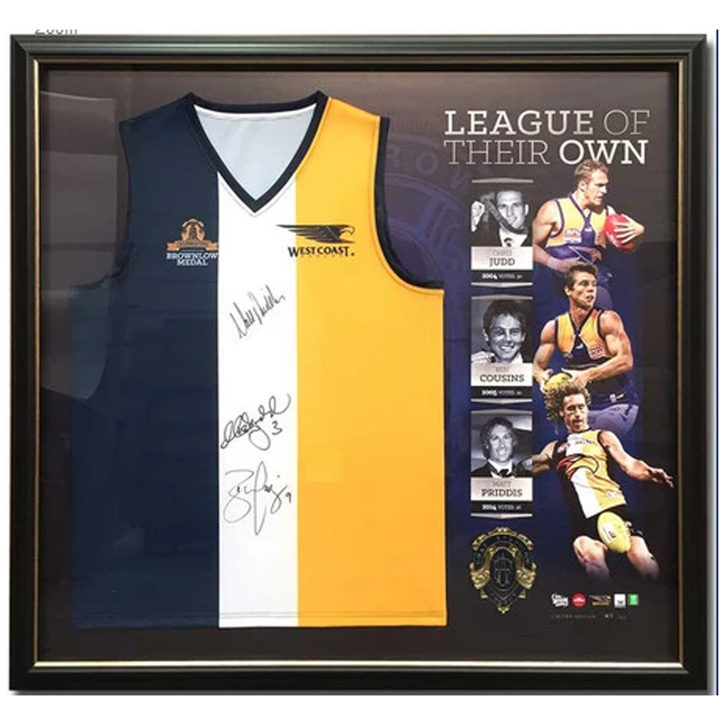 West Coast Eagles Signed OFFICIAL AFL Brownlow Jumper Framed with Medal - 2065