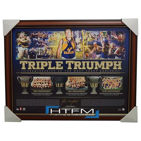 West Coast Eagles Triple Triumph Premiership Signed by John Worsfold Print Framed AFL - 2669