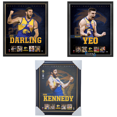 West Coast Eagles Package Official Licensed Afl Prints Framed Yeo Darling Kennedy - 4453