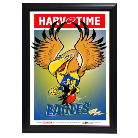 West Coast Eagles, Mascot Harv Time Print Framed - 4209