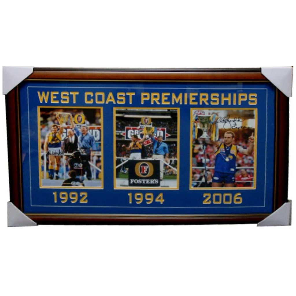 West Coast Premierships Collage 1992, 1994 & 2006 Signed Framed - 3898 LAST ONE