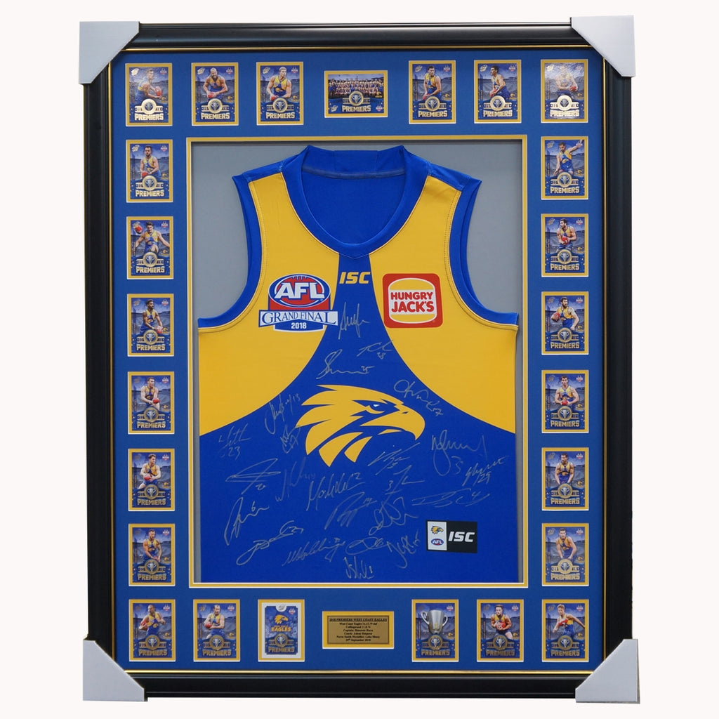 West Coast Eagles Team Signed 2018 Premiers Official Afl Jumper Framed With Premiership Cards - 3740