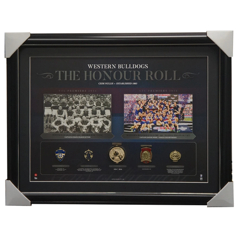 Western Bulldogs & Footscray Vfl/afl Premiers Honour Roll With Medallions Print Framed - 3005